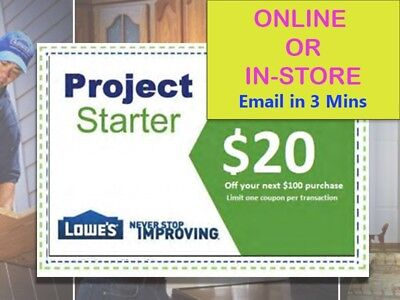 One (1x) Lowes $20 Off Next $100 Coupons- Lowe's expiry 1/19/18