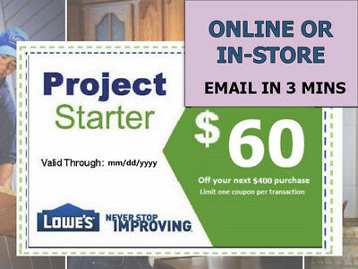 One (1x) Lowes $60 Off Next $400 Coupons- Lowe's expiry 1/19/18