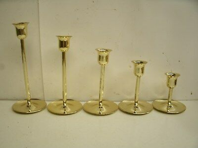 "Set of 5 Metal Graduating Candlesticks 3.25"" - 7.25"""