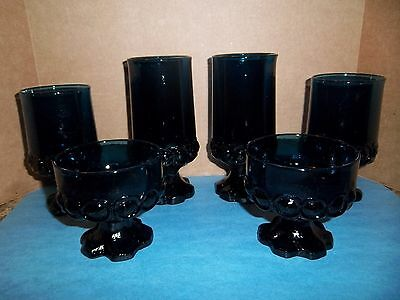 Set of 6 Franciscan Tiffin Madeira  Blue Footed Water Goblet Glasses 3 sizes