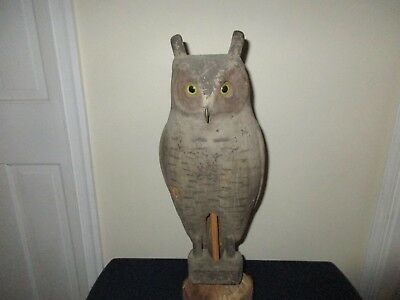 Antique Carved Wood Glass Eyes Bear Claw Herter's Working Hunting Owl Decoy Rare