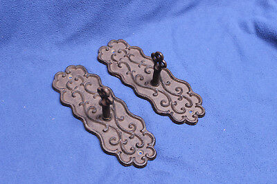 Set of 2 Cast Iron Ornate Wall Mount Coat Hanger Hook Post (Strong & Sturdy)