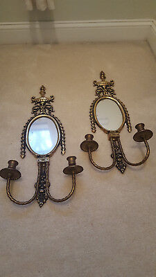 Pair (2) Vintage Mid-Century BRASS Oval MIRROR Old CANDLE Wall SCONCE