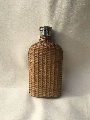 Antique Vintage Wicker Basket Weave Whiskey Glass Hip Flask from England