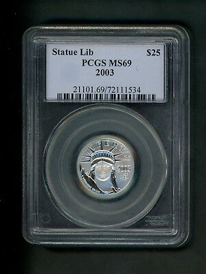 2003 US Platinum Eagle $25.00 $25 Statue of Liberty 1/4 oz .25 ounce PCGS MS69