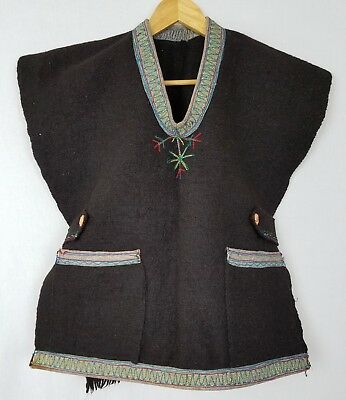 Vintage Tribal Rustic Black Boiled Wool Embroidered Ethnic Tabard Jerkin Vest  S