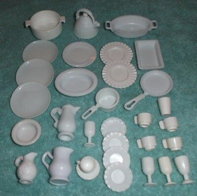 BARBIE KEN DOLL HOUSE KITCHEN DINING - 31pc SET of WHITE DISHES