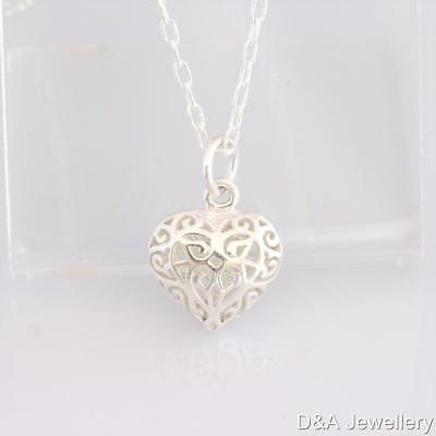 Filigree Heart Solid 925 Sterling Silver Pendant with 925 Cable Chain Classic
