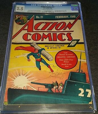 Action Comics Issue 21 Feb 1940 |  Cgc 2.5 G+ | Golden-Age Superman Wwii Cover