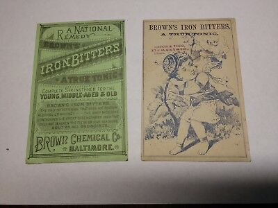 2 Brown's Iron Bitters Trade cards,  Baltimore Chemical Company