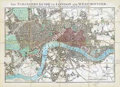 THE STRANGERS GUIDE TO LONDON old antique map engraving E Mogg 1828 art poster