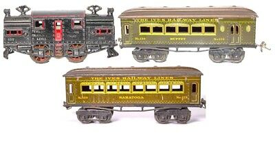 Vintage Ives 3217 Cast Iron Electric Loco W/ #128 Saratoga & #130Buffet Coaches