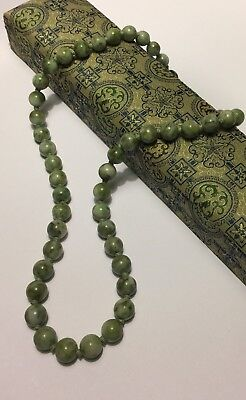 Rare Vintage CHINESE JADE BEAD Silver Clasp Pale Green Jadeite Necklace 3.3 oz.