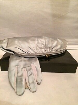 Vintage Light Blue Satin Kiss Lock Purse - Clutch with Pair Matching Gloves