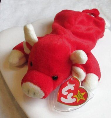 TY BEANIE BABY SNORT Red Bull Plush Cow AWESOME! 129