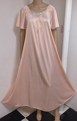 "Vintage J.C.Penney Peach Sheer Nylon 100"" Full Sweep Long Flowing Nightgown XXL"