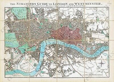 THE STRANGERS GUIDE TO LONDON old antique plan map E. Mogg 1828 art print poster