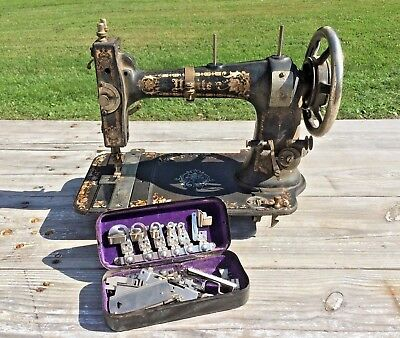 Antique Vtg White Ornate Decorative Cast Iron Metal Sewing Machine & Attachments