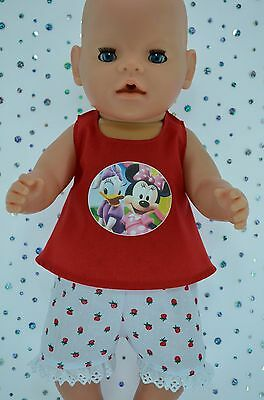 "Play n Wear Doll Clothes To Fit 17"" Baby Born STRAWBERRY PANTS~RED TOP"