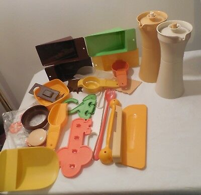 Vtg Lot of Tupperware Guest 25 pc Gift Items Gold & Tan Oil/Vinegar Containers