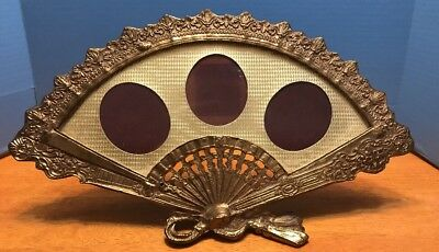 Antique Victorian Heavy Ornate Brass Bronze Fan Shaped Picture Frame Photo VTG