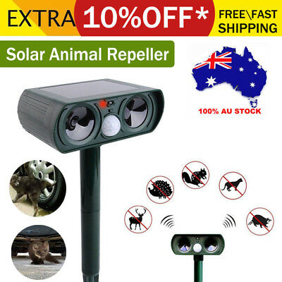 Outdoor Ultrasonic Pest Animal Bird Dog Repeller Repellent Solar Panels AU Stock