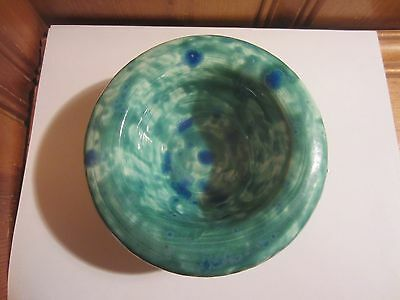 "Handmade Glazed Pottery Green Blue 2"" - 2 1/2"" Pillar Candle Holder Trinket Dish"