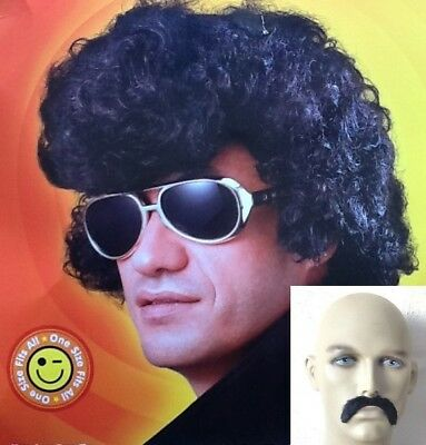 Pop Star Style Thick Curly Black Fancy Dress Wig  &  Free Moustache ,  Uk Disp