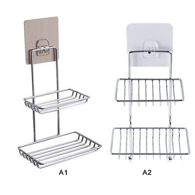 Bathroom Double Stainless Steel Suction Soap Dish Drain Tray Holder Storage Rack
