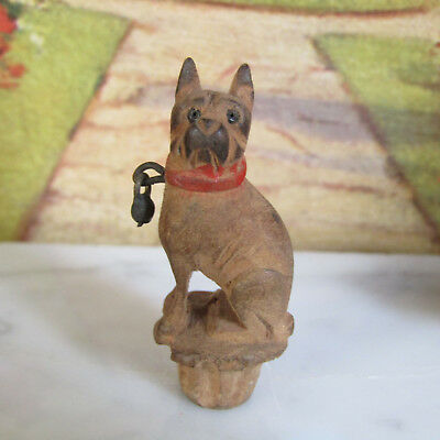 Antique CARVED WOODEN DOG BOTTLE STOPPER Perfume Cork Miniature Victorian -1900s