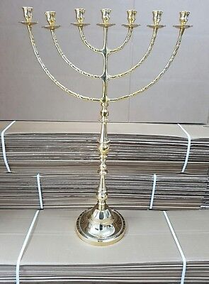"Authentic brass copper 32"" XXL Menorah vintage candle holder Judaica Israel"
