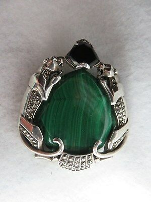 VTG Art Deco Double Panther Sterling Silver Marcasite/Onyx/Malachite Brooch