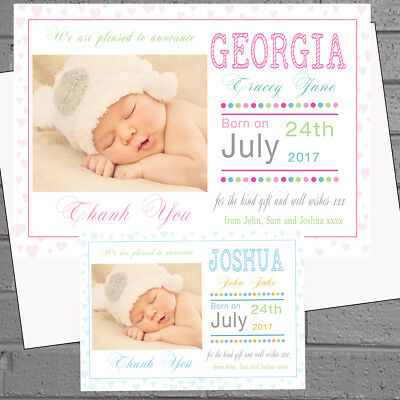 Personalised New Baby Thank You CardsBirth Announcement Photo /& Envelopes