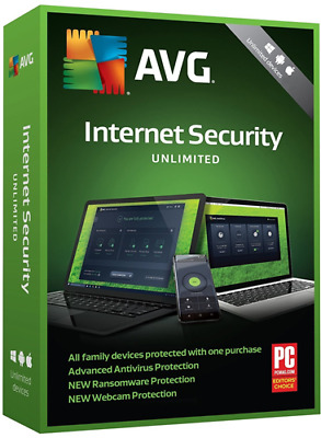 AVG Internet Security & Antivirus 2019 Unlimited Devices 2 Years Retail License