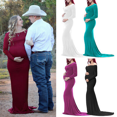 Pregnant Women Long Maxi Dress Maternity Gown Pregnancy Photography Photo Shoot