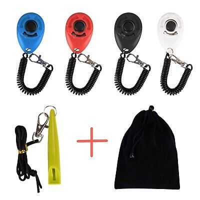 4 Pcs Clicker with Elastic Wristband for Clickertraining + Whistle for Dog Cat