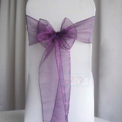25x Purple Organza Sheer Chair Sashes Wedding Banquet Party Events Decoration