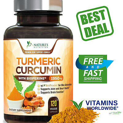 TURMERIC CURCUMIN MAX Potency With Bioperine Black Pepper 1950 Mg 120 Capsules