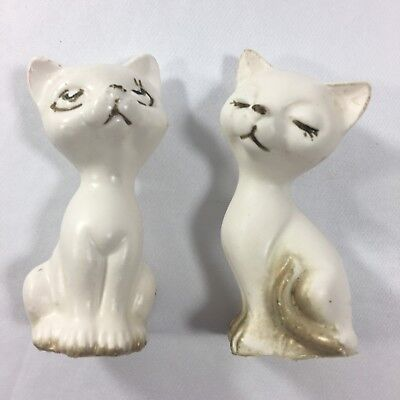 Vintage Cats Salt And Pepper Shakers White Japan