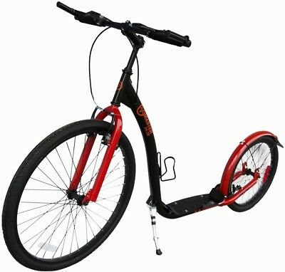 """Tretroller  26"""" / 20""""  Zoll City Scooter Dogscooter schwarz/rot B-Ware"""