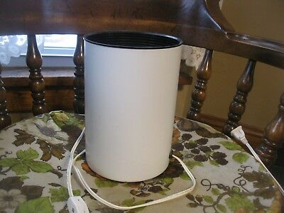 "Vtg  Mid Century Modern White Metal Cylinder Can Accent light lamp 8.5"" Hgt"