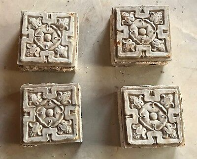 4 Vintage Floral Flowers Art Deco Architectural Salvage Garden Stone Block Wall
