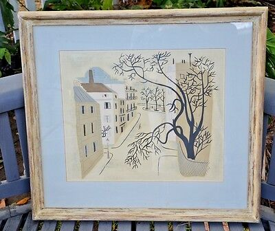 """Very Nice MID-CENTURY VINTAGE  FRENCH PARIS   FRAMED Lithograph  27""""X24"""""""