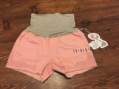 NWT Bella Vida Maternity Peachy Pink Shorts XL Super Soft With Belly Panel