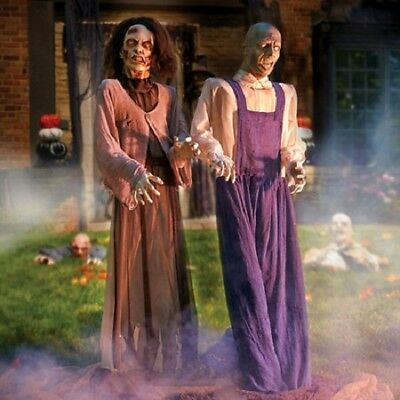 Life Size Animated Zombies Farmer Couple Light Up Eyes Turning Heads LAST ONE!
