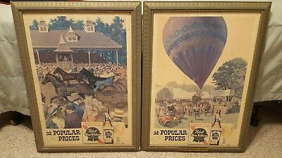 2 RARE Vintage PABST BLUE RIBBON Beer HORSE RACING & ROANOKE BALLOON FAIR Signs