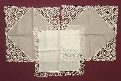 Lot of Three Vintage White Handkerchiefs Hankies (One Tatted, Two Machine Lace)