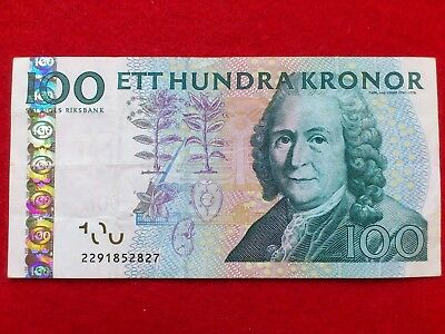 Paper Money.Sweden. 100 Kronor.2291852827. Circulated.