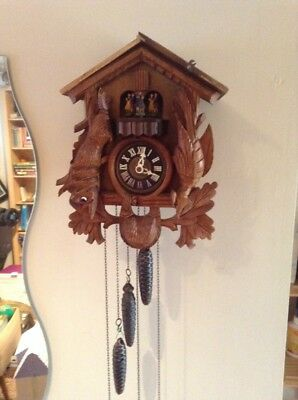 Large Old Wooden Musical 3 Weight Cookoo Clock (working)