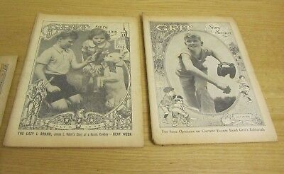 1938 Grit Newspaper 10 Story Section Lot Western Sports Adventure Children Pets